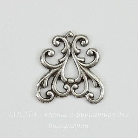Винтажный декоративный элемент - подвеска 15х15 мм (оксид серебра)