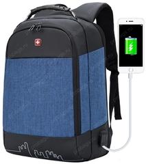 Рюкзак антивор SWISSWIN 7008 USB Синий