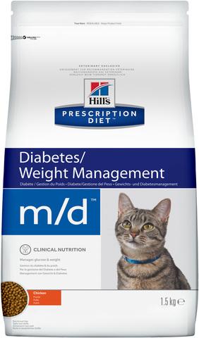 купить хиллс  диетический Hill's™ Prescription Diet™ Feline m/d™Diabetes/Weight Management with Chicken сухой корм для взрослых кошек. диетический рацион при сахарном диабете, ожирении 1.5 кг
