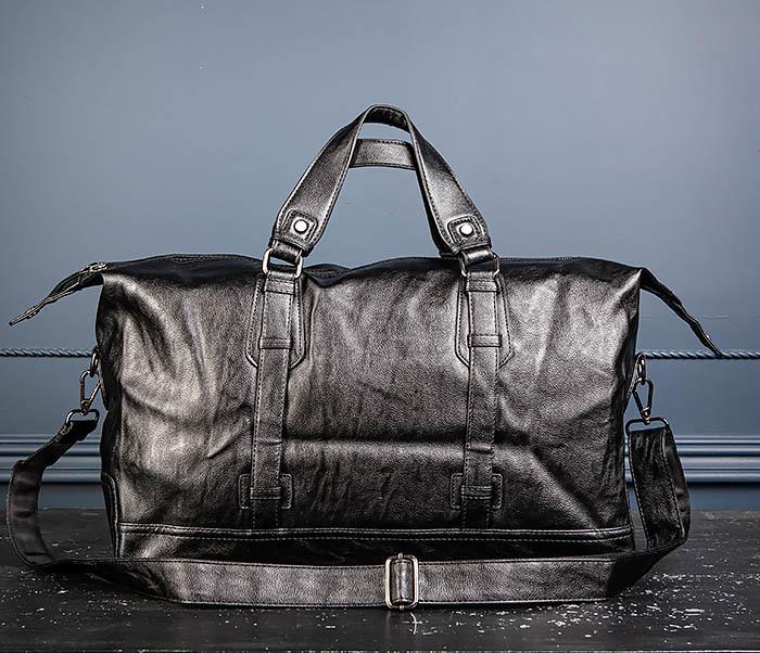 BAG543 Крупная дорожная сумка из кожи черного цвета фото 12