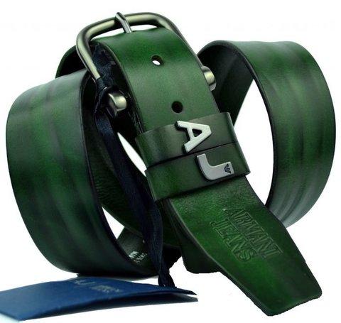 Брендовый зеленый ремень из кожи буйвола Armani 300