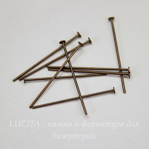 Винтажные пины - гвоздики 25х0,7 мм (оксид латуни), 10 штук