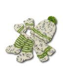 Вязаный комплект - Серый меланж / зеленый. Одежда для кукол, пупсов и мягких игрушек.