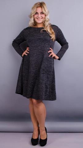Альбина. Практичное платье больших размеров. Графит.