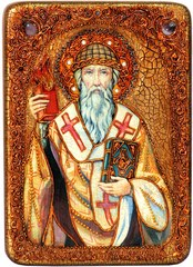 Инкрустированная икона Святитель Спиридон Тримифунтский 29х21см на натуральном дереве в подарочной коробке