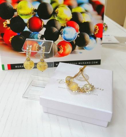 Комплект из браслета и серег со стразами Franchesca Ca'D'oro Medio Crystal Gold 004O