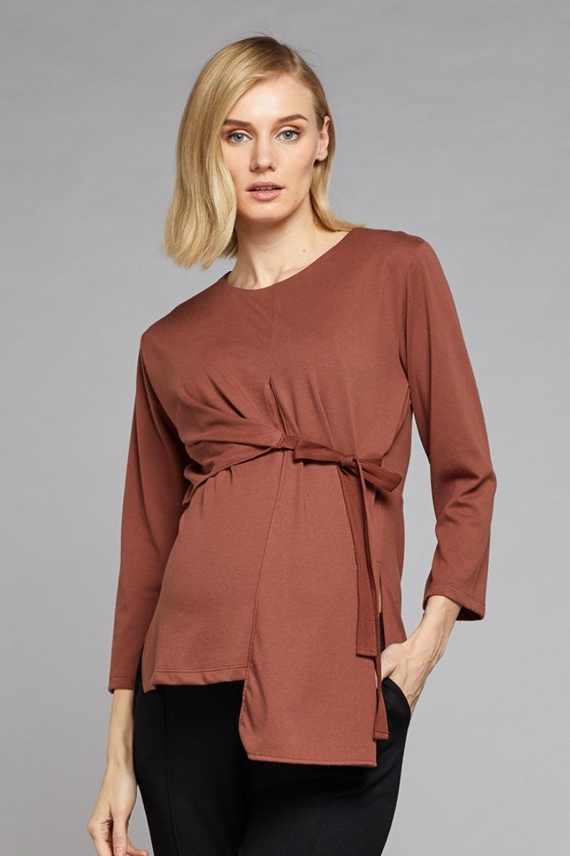 Блузка для беременных и кормящих 10769 светло-коричневый