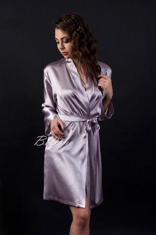 3e9b5f564873a Короткий женский шелковый халат аметист благородный цвет натуральный шелк  купить в магазине в Украине