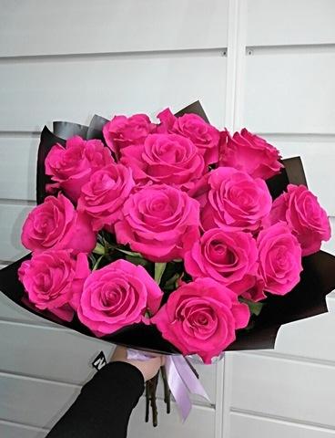 15 розовых роз 60 см #14257