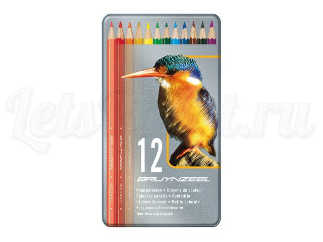 Набор из 12 цветных карандашей KINGFISHER MXZ в мет. упаковке