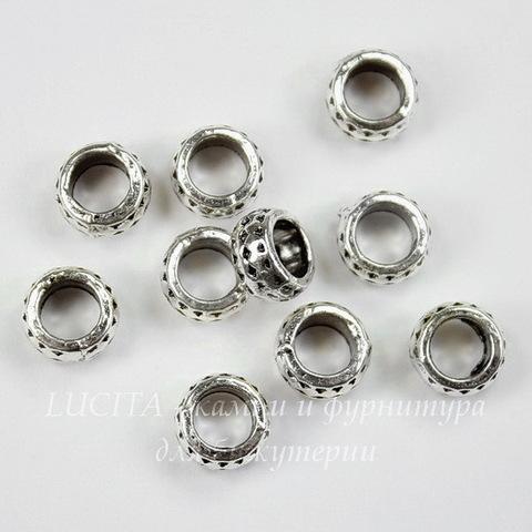 """Бусина металлическая - рондель """"Ромбики"""" 8х4 мм (цвет - античное серебро), 10 штук"""