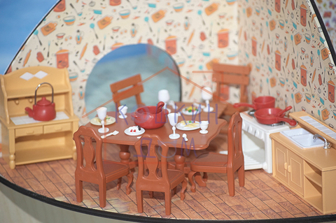 Комплект кукольной мебели для кухни и столовой Happy family