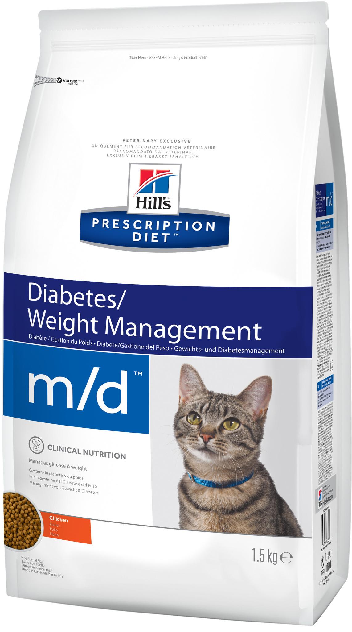 купить хиллс  диетический Hill's™ Prescription Diet™ Feline m/d™Diabetes/Weight Management with Chicken сухой корм для взрослых кошек. диетический рацион при сахарном диабете, ожирении процент белка