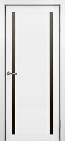 > Экошпон Optima Porte Турин 522.212, стекло лакобель чёрное, цвет белый монохром, остекленная