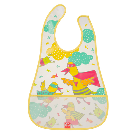 Нагрудник Happy Baby на липучке WATERPROOF BABY BIB из ПВХ-пленки Арт. 16005N Yellow