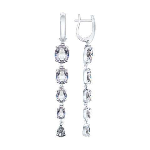 Серьги длинные из серебра с фианитами арт.94022079