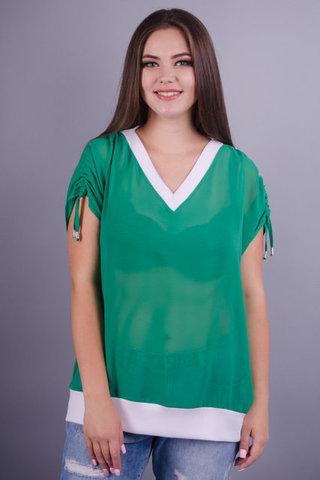 Деніз. Гарна блуза для жінок з пишними формами. Зелений.