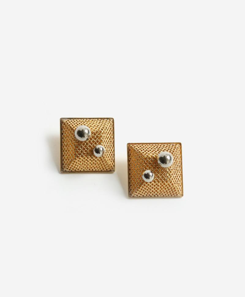 Серьги Cube золотистые