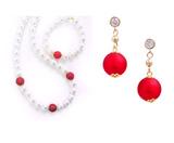 Комплект Giorno e Notte бело-красный (серьги, ожерелье, браслет)