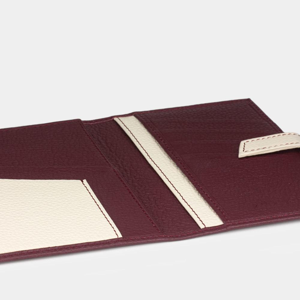 Обложка на паспорт и для автодокументов Cannes Bicolor из натуральной кожи теленка, бордового цвета