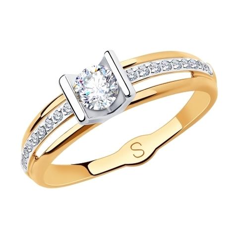 Золотое кольцо с фианитами арт.018250