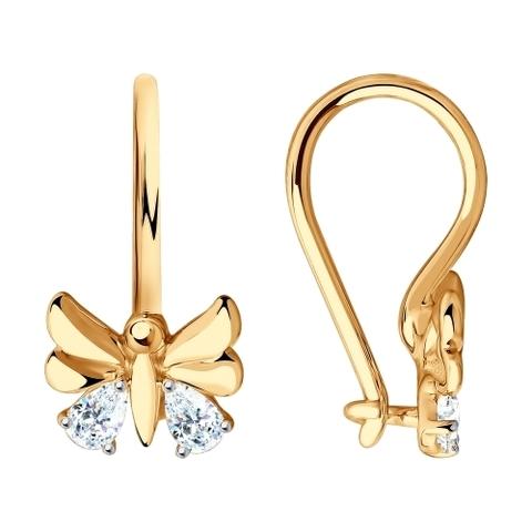 81020459 - Серьги из золота для девочек с кристаллами SWAROVSKI