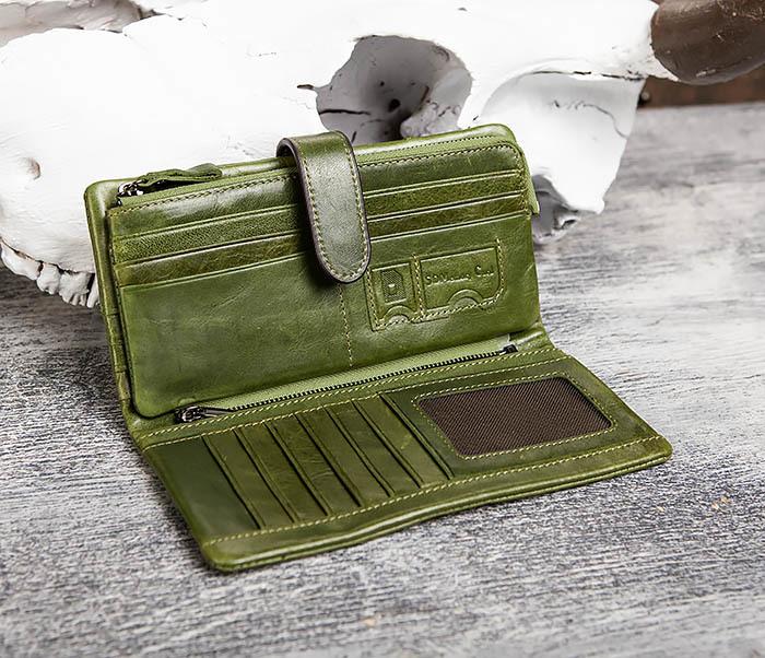 WL252-4 Клатч из натуральной кожи зеленого цвета фото 07