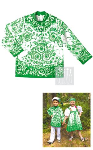 Картинка Гжель Зеленая расписная рубаха для мальчика