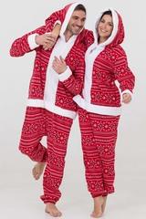 """Пижама-кигуруми Футужама """"Санта"""" красный со снежинками"""