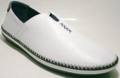 Туфли мокасины летние мужские, белые, кожаные Luciano Bellini