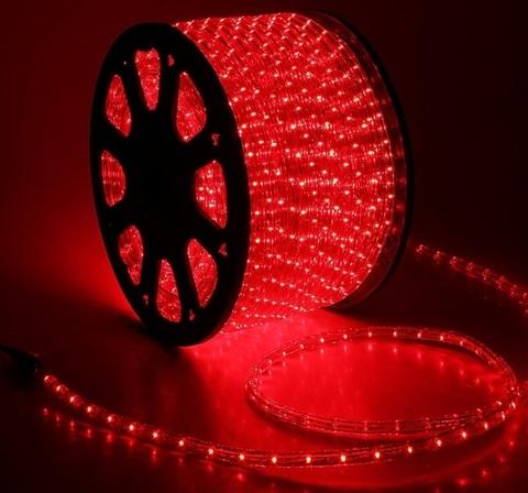 Дюралайт светодиодный, двухпроводной, круглый 13 мм, Красный, 36 LED/м, кратность резки 2 метра