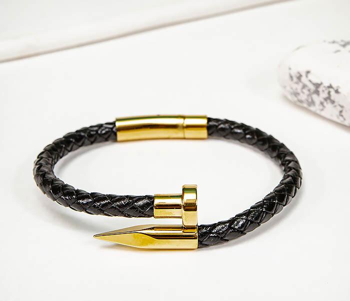 BM536-2 Кожаный браслет со вставкой «Гвоздь» золотистого цвета