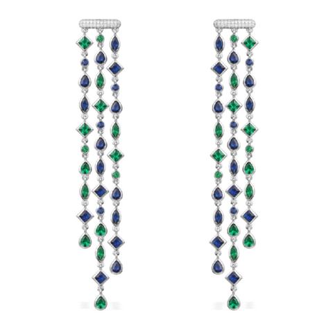Серьги из серебра длинные с цветными цирконами  в  стиле APM MONACO