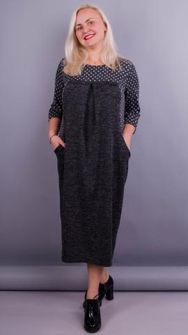 Роксолана. Оригинальное платье больших размеров. Серый+горошки.