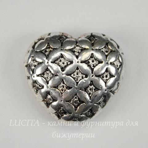 """Бусина металлическая  """"Сердце"""" (цвет - античное серебро) 16х17 мм"""