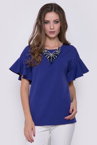 Женственная блуза со спущенным плечом. Рукав - шикарный волан.