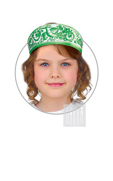 Кокошник Зеленый с Гжельской росписью девичий