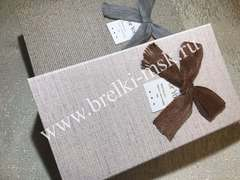 Подарочная коробочка из рогожки с бантиком на магните. Цвет Бежевый. Размер 25,5х12,5х4 см.