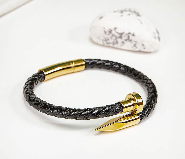 BM536-2 Кожаный браслет со вставкой «Гвоздь» золотистого цвета фото 03
