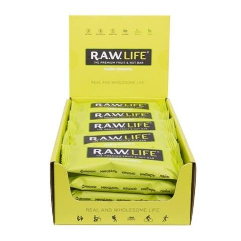 Батончик натуральный R.A.W. LIFE Лайм-Имбирь коробка 20 шт.