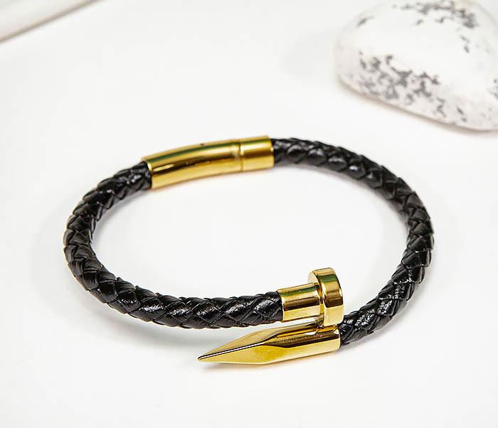 BM536-2 Кожаный браслет со вставкой «Гвоздь» золотистого цвета фото 04