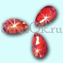 Стразы пришивные стеклянные Drope Light Siam, Капля Лайт Сиам светло-красный