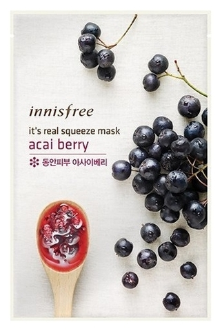 Innisfree Тканевая маска для лица с соком ягод асаи My Real Squeeze Mask Acai Berry