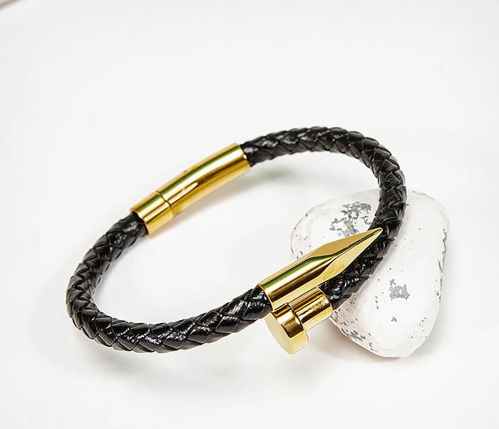 BM536-2 Кожаный браслет со вставкой «Гвоздь» золотистого цвета фото 06