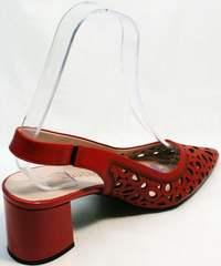 Кожаные туфли с острым носом и широким каблуком летние G.U.E.R.O G067-TN Red.