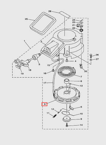 Заводной барабан  для лодочного мотора T15, OTH 9,9 SEA-PRO (7-5)