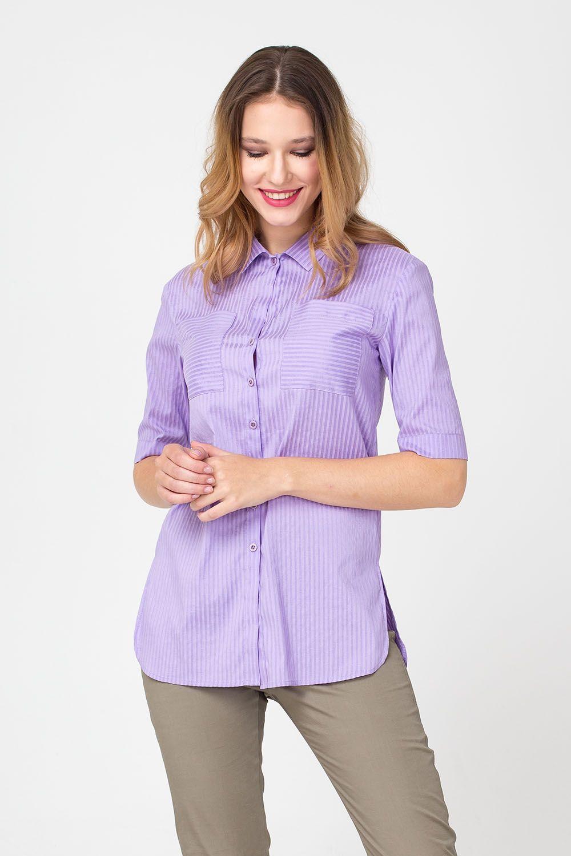 Блуза Г665а-303 - Блуза классического дизайна, изготовленная из качественной по составу ткани, незаменимая составляющая делового и повседневного гардероба. Модель украшена полосатым принтом, на груди расположены накладные карманы. По бокам блузы полукруглые разрезы, которые позволяют носить ее навыпуск.