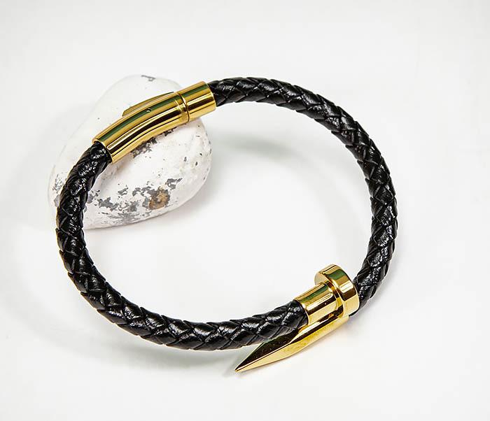 BM536-2 Кожаный браслет со вставкой «Гвоздь» золотистого цвета фото 07