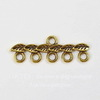 """Коннектор """"Листья"""" (1-5) 27х9 мм (цвет - античное золото)"""