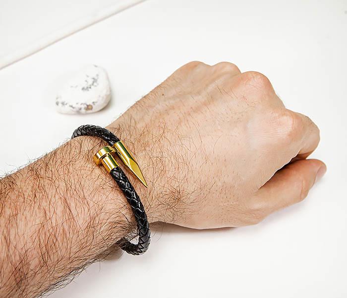 BM536-2 Кожаный браслет со вставкой «Гвоздь» золотистого цвета фото 08
